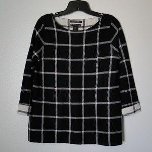 Tahari 100% Merino Wool Plaid 3/4 Sleeve Sweater